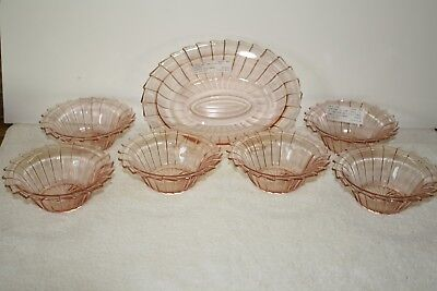 Sierra pink (1) Oval Vegetable Bowl and (6) Cereal Bowls