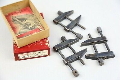 3 Starrett Parallel Clamps No. 161-b Machinist Tool Vintage With Box