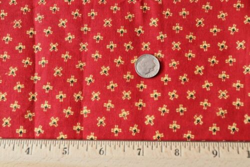 "American 19thC Antique Cotton Turkey Red With Yellow Geo Fabric~45""X23""~Dolls"
