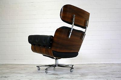 Rosewood Lounge Chair Palisander Leder Sessel drehbar 70er