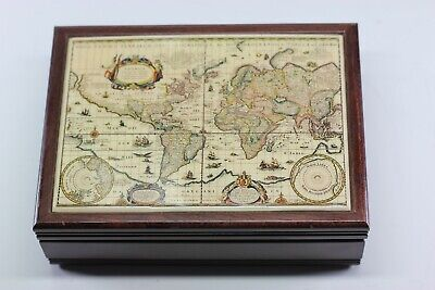 Vintage Wood Jewelry Box with carte-a-figure map of the World by Willem Janszoon