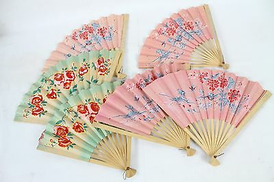 Vintage Japan Japanese Folding Decorative Hand Painted Fan Lot Asian Rare Wood