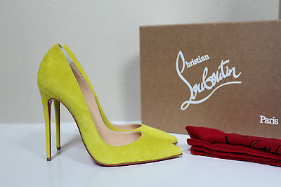 sz 6 / 36 Christian Louboutin So Kate Yellow Velour Suede Pointed Toe Pump Shoes