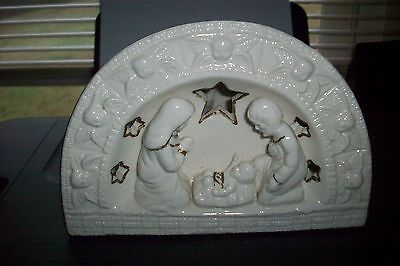 GEi 1998 Nativity Scene  with small candle holder in back off white w gold trim