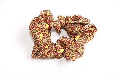 Trendy Casual 50's Style Women Light Brown Patterned Hair Scrunchie (S309)