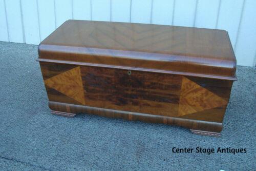 60752  Art Deco Cedar Lined Cedar Chest w/ Drawer Inside