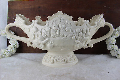 Vintage French LAst supper religious Christ majolica centerpiece coupe lion head