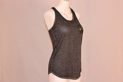Rosie Harlow New Gray Palm Tree Embroidered Womens Tank Cami Top  3200 Tfi