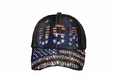 USA Country Flag Denim Rhinestone Studded HAT CAP ..  -
