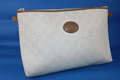 Auth GUCCI PLUS GG White Canvas Supreme Secondary Clutch Hand Bag Italy Vintage