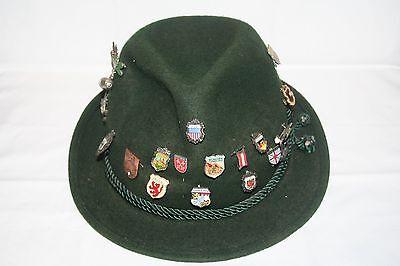 Vtg German Oktoberfest Green Felt Hiking Hat & 21 Souvenir Pins