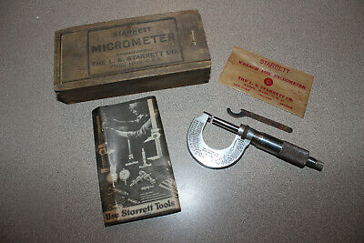 Vintage Starrett 1 Micrometer 230 W Wrench Paperwork And Original Wood Box