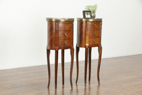 Pair of Small French Vintage Rosewood Marquetry Nightstands or End Tables #34433