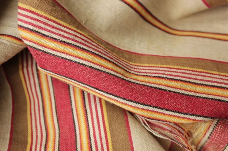 Antique French ticking linen cotton mix woven herringbone weave Vibrant c1880