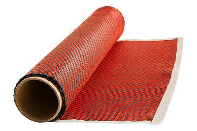Red Kevlar Carbon Fiber Hybrid Cloth Twill Weave 3k 100cm X 30cm Fabric