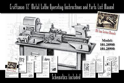 """Craftsman 12"""" Metal Lathe Operating Manual and Parts List 101.28980 & 101.28990"""