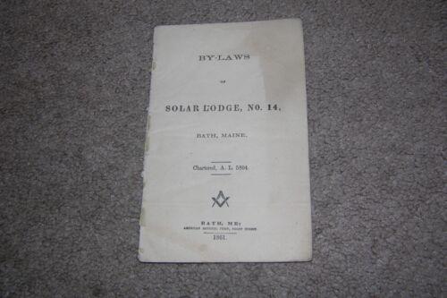 1861 Bath Maine Mason Masonic By-Laws of Solar Lodge No. 14