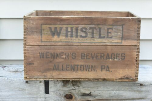 Antique 1935 Whistle Soda Wooden Dovetail Box Wenner