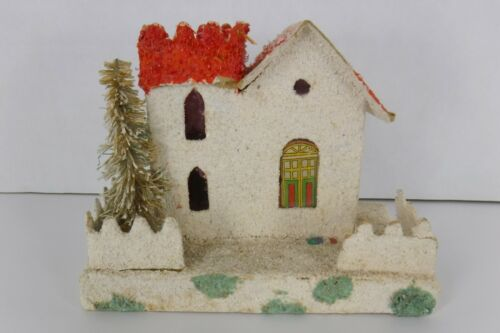Vintage Putz Cardboard House Christmas Village Mica Brush Tree Red White