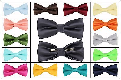 (Solid Bow tie Clip On Green Gold Orange Red Blue Brown Silver Gray)