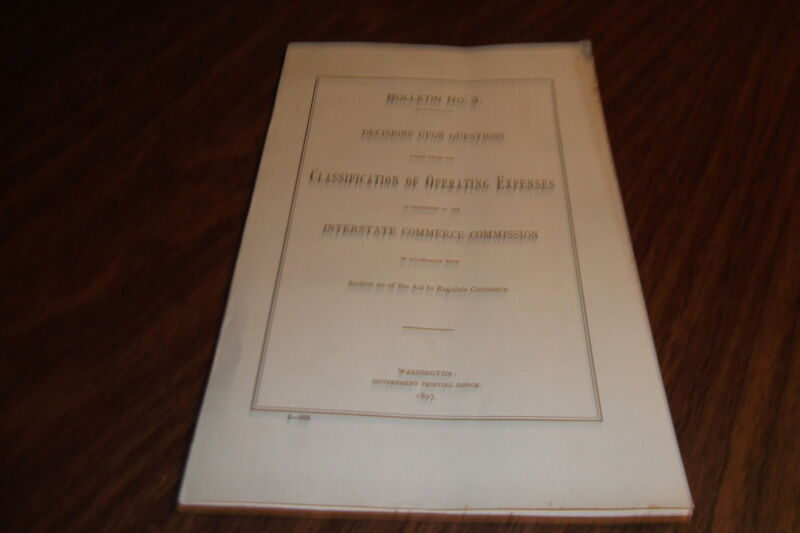 1897 INTERSTATE COMMERCE COMMISSION CLASSIFICATION OF OPERATING EXPENSES