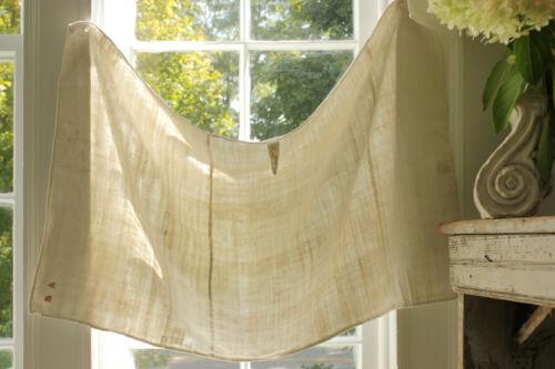 Antique Timeworn Linen Towel Pieced w/ MA monogram & hand stitched mends