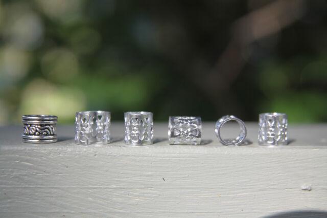 30 Silver Dreadlock Hair Beads Filigree Cuffs 7mm Hole (9/32') FREE Tibetan Bead