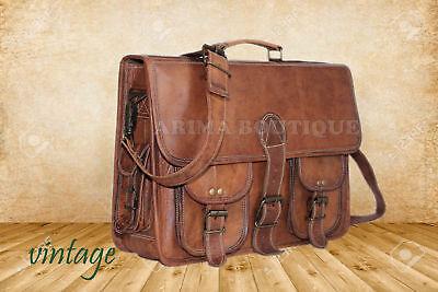 New Men's BUSSINESS Vintage Brown Leather Messenger Shoulder Laptop Bag computer