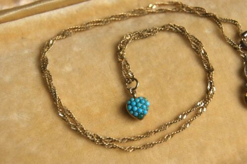 ANTIQUE 9CT GOLD TURQUOISE HEART MOURNING LOCKET PENDANT PLAITED HAIR ON CHAIN