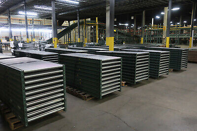 10 Pc- 30w X 10l Gravity Roller Conveyor W 11 Adjustable Stands