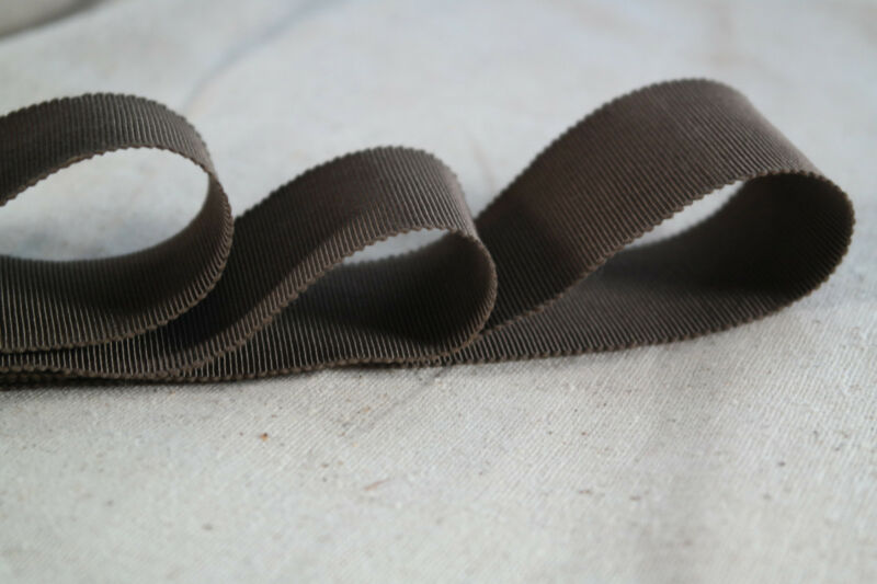 "10 yard roll 1 1/2"" brown vintage cotton rayon petersham ribbon millinery hat"