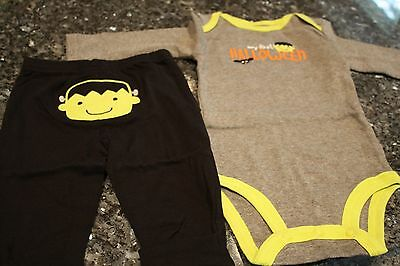 NWOT 6 mos Carter's just one you boys My First Halloween outfit onepiece pants - Carter's My First Halloween Outfit