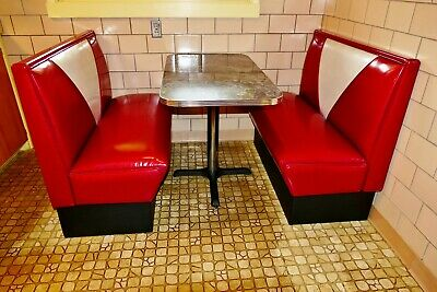 1950s Retro Diner Double Booth Set - Table With Metal Trim Gently Used