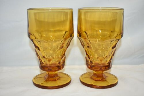 Vintage Anchor Hocking Amber Georgian Glass Goblets Golden Yellow Glass MCM