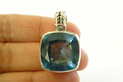 Square Ornate Blue Topaz Solitaire Enhancer Bail 925 Sterling Silver Pendant Blue Topaz Solitaire Pendant