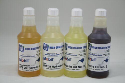 4 Pints  #26 DTE #24 DTE #10 Velocite #2 Vactra Oils Mobil