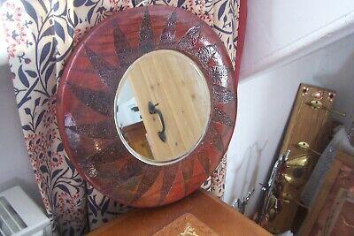 """Handmade Oak arts &crafts style mirror  with poker work """"Spiral """""""