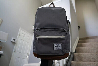 Herschel Pop Quiz Backpack - Grey/Tan Faux Leather Pre-Owned GREAT CONDITION!