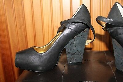 Unique Platform Shoes (ZINC black leather peep toe platform shoes with ankle strap UNIQUE)