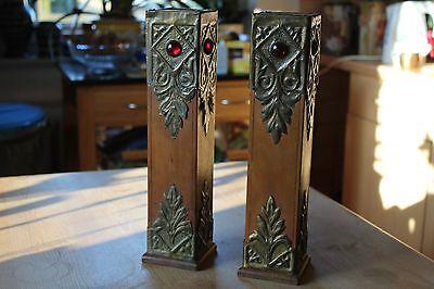 2 Antike Jugendstil Vasen Holz Metall um 1900
