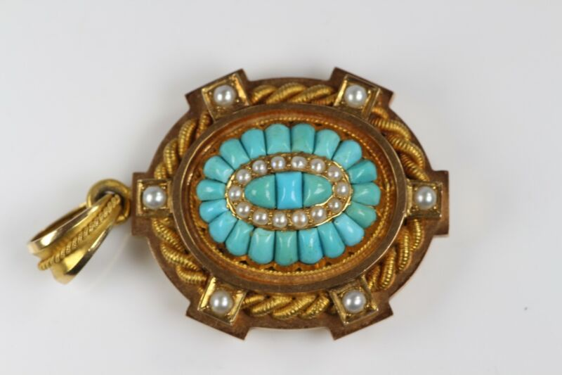VINTAGE SOLID 18K GOLD FRENCH HALLMARKED TURQUOISE PEARL LOCKET PENDANT #530