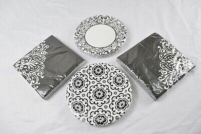Fancy Paper Plates (Fancy Paper Dessert Plates (20 x 2) & Napkins (20 x 2), Black and White --)