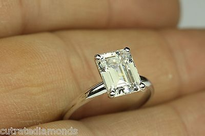 - 2.00 CT DIAMOND EMERALD CUT SOLITAIRE ENGAGEMENT RING 14 WHITE GOLD