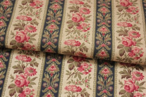 Fabric Antique French floral & stripe cotton material circa 1890 19th century