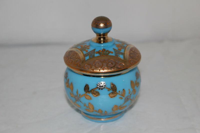 ANTIQUE HAND PAINTED ENAMEL VICTORIAN OPALINE GLASS LIDDED JAR-GOLD-MOSER