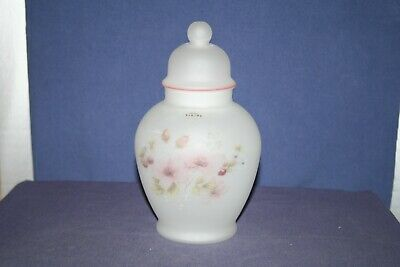 White Frosted Glass Ginger Jar with Lid & Floral Design & Viking USA Label