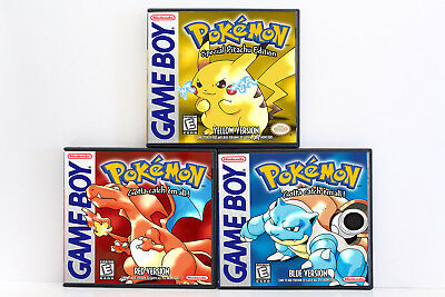 Pokemon Red Blue and Yellow Custom Game Cases *NO GAMES* (Game Boy Color GBC)