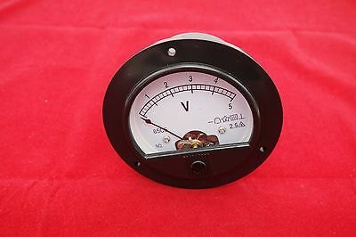 1pc Dc 0- 5v Analog Voltmeter Voltage Panel Meter Dia. 90mm Dh62 Plastic Housing