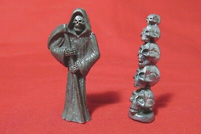 Pewter Grim Reaper With A Stack Of Skulls  Figurine - A Grim Reaper