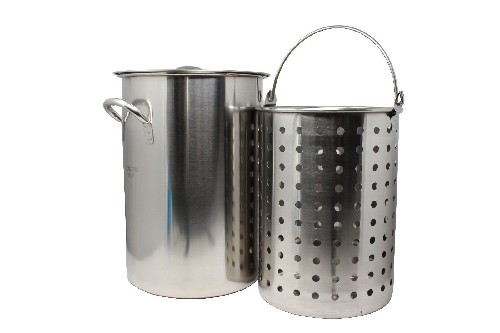 CONCORD Stainless Steel Stock Pot w/ Basket. Heavy Kettle. Cookware for Boiling
